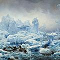 Fishing for Walrus in the Arctic Ocean Print by Francois Auguste Biard