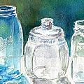 Five Jars in WIndow Poster by Sukey Jacobsen