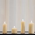 Five White Lit Candles Print by Andersen Ross