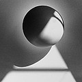 Floating sphere on light triangle- black and white silver gelati Print by Adam Long