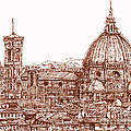 Florence Duomo in red Print by Lee-Ann Adendorff