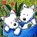 Flower Bed Westies Poster by Kim Niles