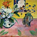 Flowers and a Japanese Print Poster by Paul Gauguin