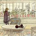 Flowers on the Windowsill Print by Carl Larsson