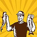 Fly Fisherman holding bass fish catch Poster by Aloysius Patrimonio