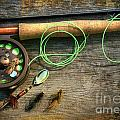 Fly fishing rod with polaroids pictures on wood Poster by Sandra Cunningham