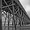 Folly Beach Pier Black and White Poster by Dustin K Ryan