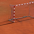 Football Net On Red Ground Poster by Daniel Kulinski