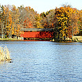 Fowler Lake and Covered Bridge Poster by Franklin Conour