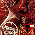 French horn Christmas still life Print by Garry Gay