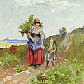 French Peasants on a Path Print by Daniel Ridgway Knight