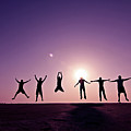 Friends Jumping Against Sunset Poster by Kazi Sudipto photography