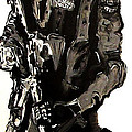 Full Length Figure Portrait of SWAT team leader Alpha Chicago Police in full uniform with war gun Poster by M Zimmerman MendyZ