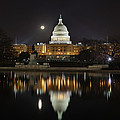 Full Moon at the US Capitol Poster by Metro DC Photography