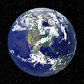 Fully Lit Earth Centered On North Print by Stocktrek Images