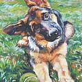 German shepherd pup with ball Print by L A Shepard