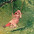 Girl on a Swing Print by Winslow Homer