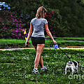 Girl walking dog Print by Paul Ward