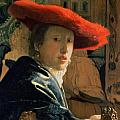 Girl with a Red Hat Print by Jan Vermeer