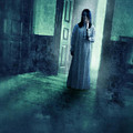 Girl with Candle in Doorway Poster by Jill Battaglia