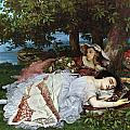 Girls on the Banks of the Seine Print by Gustave Courbet