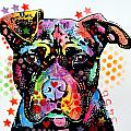 Give Love Pitbull Print by Dean Russo