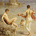 Gleaming Waters Poster by Henry Scott Tuke