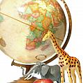 Globe with toys animals on white Poster by Sandra Cunningham