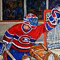 GOALIE MAKES THE SAVE STANLEY CUP PLAYOFFS Poster by CAROLE SPANDAU