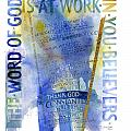 God at Work Poster by Judy Dodds