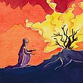 God speaks to Moses from the burning bush Print by Elizabeth Wang