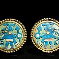 Gold Ear Ornaments, Moche Florescent Print by Tony Camacho