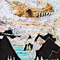 Golden Eagle Flies Above Clouds and Mountains Print by Carol  Law Conklin