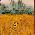 Goldfinch in the wheat Print by Carolyn Doe