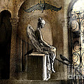 Gothic Surreal Angel With Gargoyles and Ravens  Print by Kathy Fornal