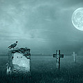 Gravestones in moonlight Print by Jaroslaw Grudzinski