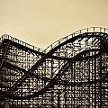 Great White Roller Coaster - Adventure Pier Wildwood NJ in Sepia Poster by Bill Cannon