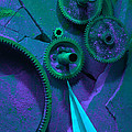 Green Gears Poster by Ron Schwager