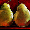 Green Pears on Red Poster by Toni Grote