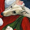 Greyhound and Santa Print by Charlotte Yealey