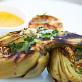 Grilled Artichoke With Lemon And Saffron Rouille Poster by Trinette Reed