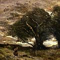 Gust of Wind Print by Jean Baptiste Camille Corot