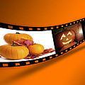 Halloween Pumpkin Film Strip Poster by Christopher and Amanda Elwell
