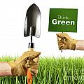 Hands holding garden trowel and sign Print by Sandra Cunningham