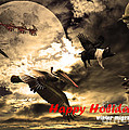 Happy Holidays . Winter Migration Print by Wingsdomain Art and Photography