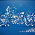 Harley-Davidson Motorcycle 1928 Patent Artwork Print by Nikki Marie Smith