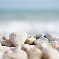 Heart Shaped Pebble On The Beach Poster by Alexandre Fundone