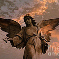 Heavenly Spiritual Angel Wings Sunset Sky  Poster by Kathy Fornal