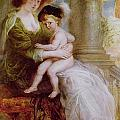 Helene Fourment and her son Frans Print by Rubens
