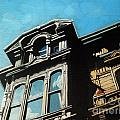 High in the Sky - houses Print by Linda Apple